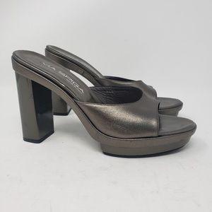 Via Spiga silver slip on heels size 6.5